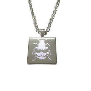 Silver Toned Etched Beetle Insect Pendant Necklace